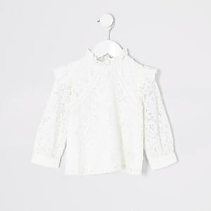 Mini - Crèmekleurige shlousetop met kant voor meisjes