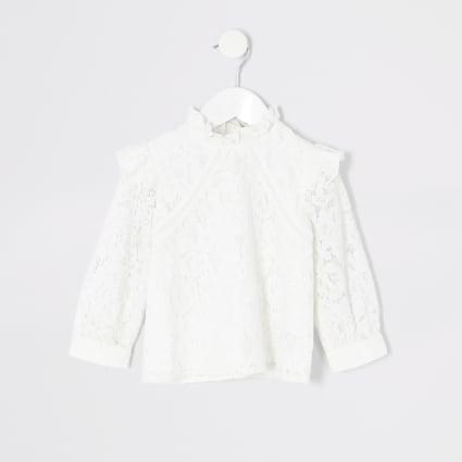 Mini girls cream lace shlouse top