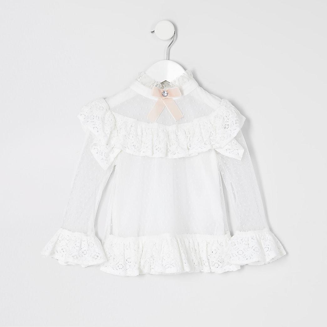 Mini girls white lace bow collar blouse
