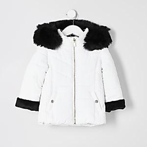 Mini - Witte gewatteerde jas met randen van imitatiebont voor meisjes