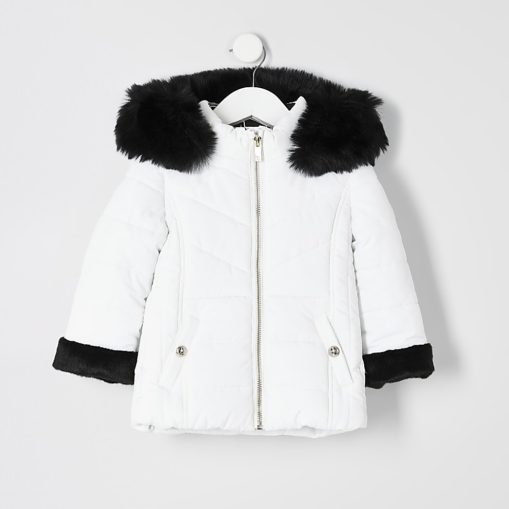Mini girls white faux fur trim padded coat