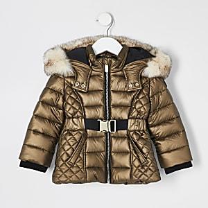 Mini girls bronze faux fur hood padded coat