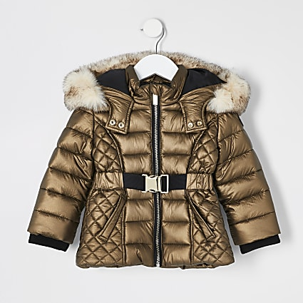Mini girls bronze faux fur hood padded coat