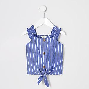 Caraco rayé bleu mini fille