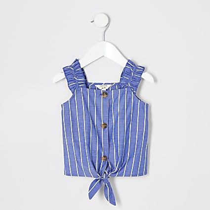 Mini girls blue stripe cami top