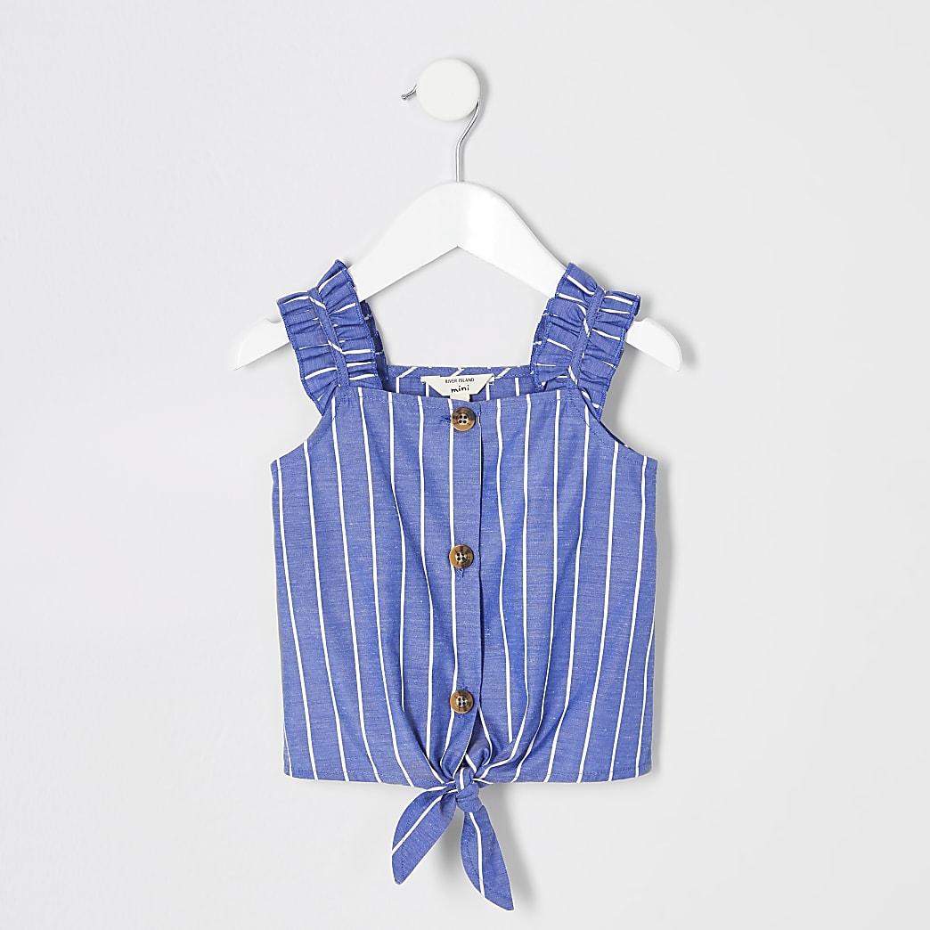 Mini girls blue stripe cami top