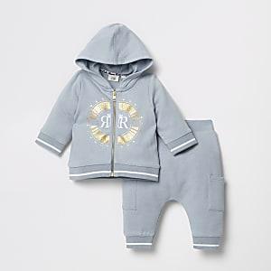 Outfit met blauw sweatshirt met ritssluiting voor baby's