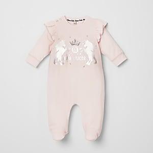 Baby pink unicorn print frill romper