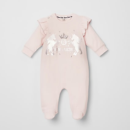 Baby pink unicorn print frill baby grow