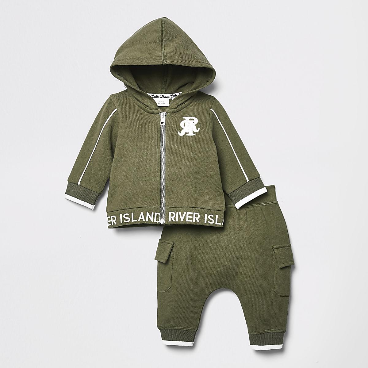 RI - Outfit met kaki hoodie voor baby's