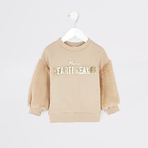 Beigefarbenes Sweatshirt mit Kunstfellärmeln für kleine Mädchen