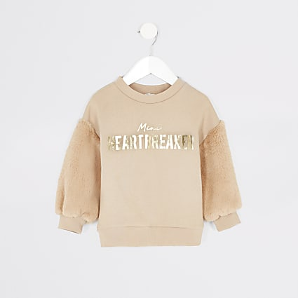 Mini girls beige faux fur sleeve sweatshirt