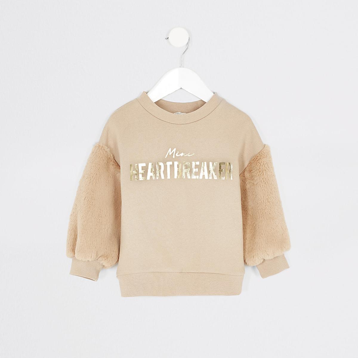 Mini - Beige sweater met mouwen van imitatiebont voor meisjes