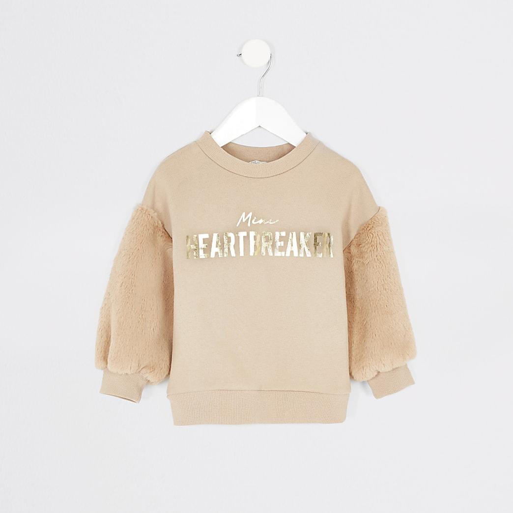 Mini girls beige faux fur sleeve sweatshirt