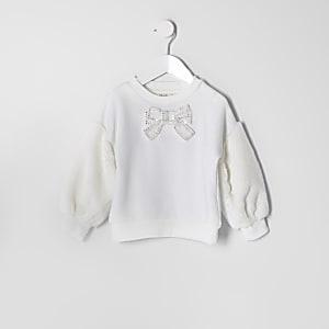 Mini girls cream faux fur sleeve sweatshirt