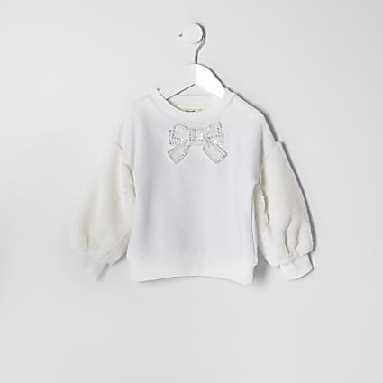 Mini girls cream faux fur sleeve sweatshirt