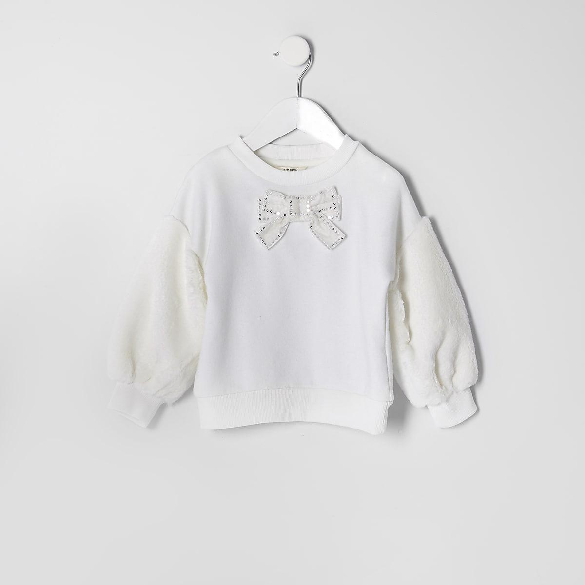 Mini - Crèmekleurige sweater met mouwen van imitatiebont voor meisjes