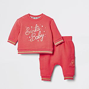 """Sweatshirt """"Santa baby"""" rouge pour bébé"""