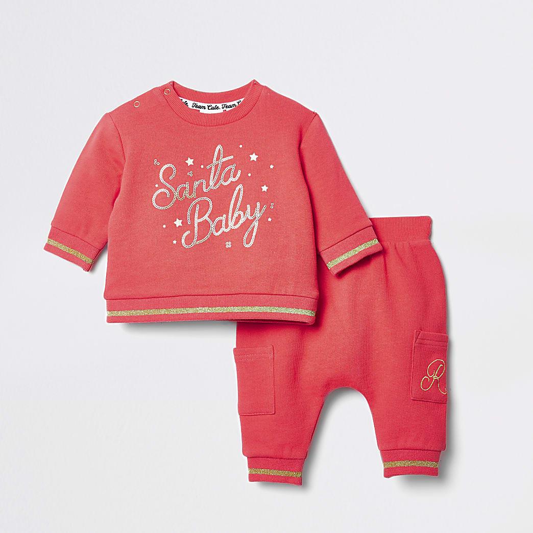 Rood sweatshirt outfit met 'Santa baby'-tekst voor baby's