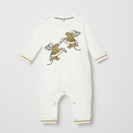 Baby cream RI tiger printed baby grow
