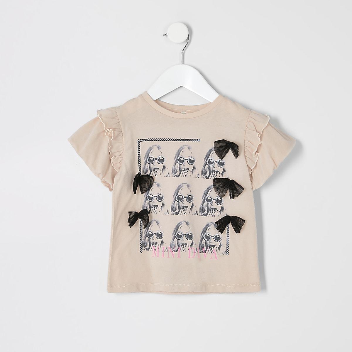 Mini - Beige T-shirt met foto voor meisjes