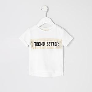 Mini - Crèmekleurig T-shirt met franje en print voor meisjes