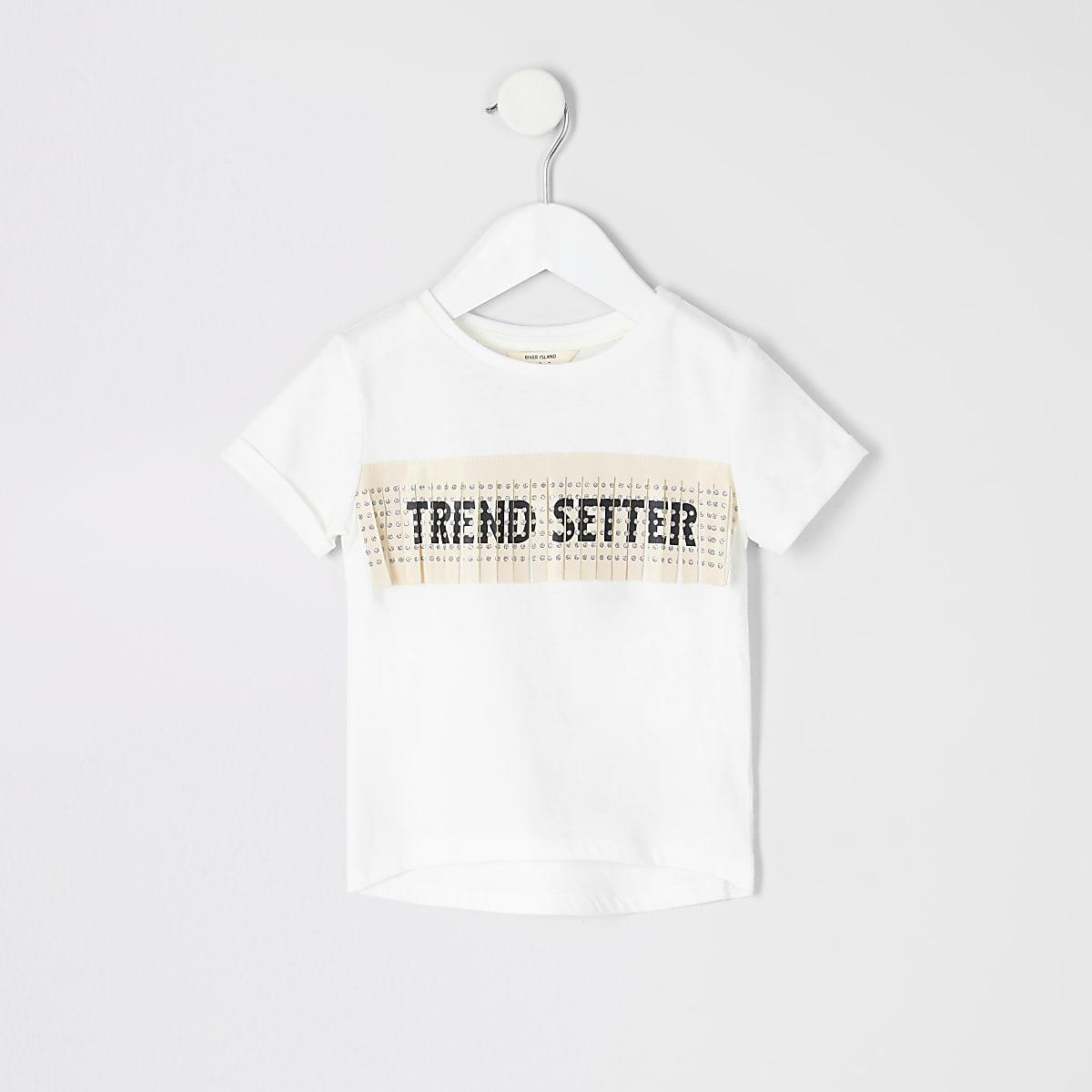 Mini girls cream printed fringe T-shirt