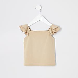 Mini Girls Hellbraunes Schößchen-T-Shirt mit Rüschen