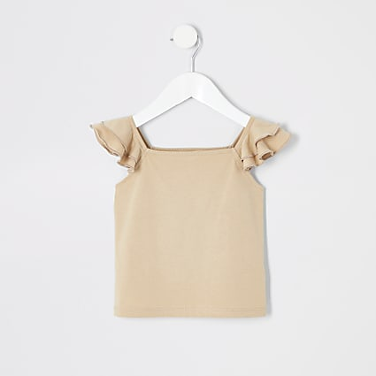 Mini girls tan frill peplum cami T-shirt