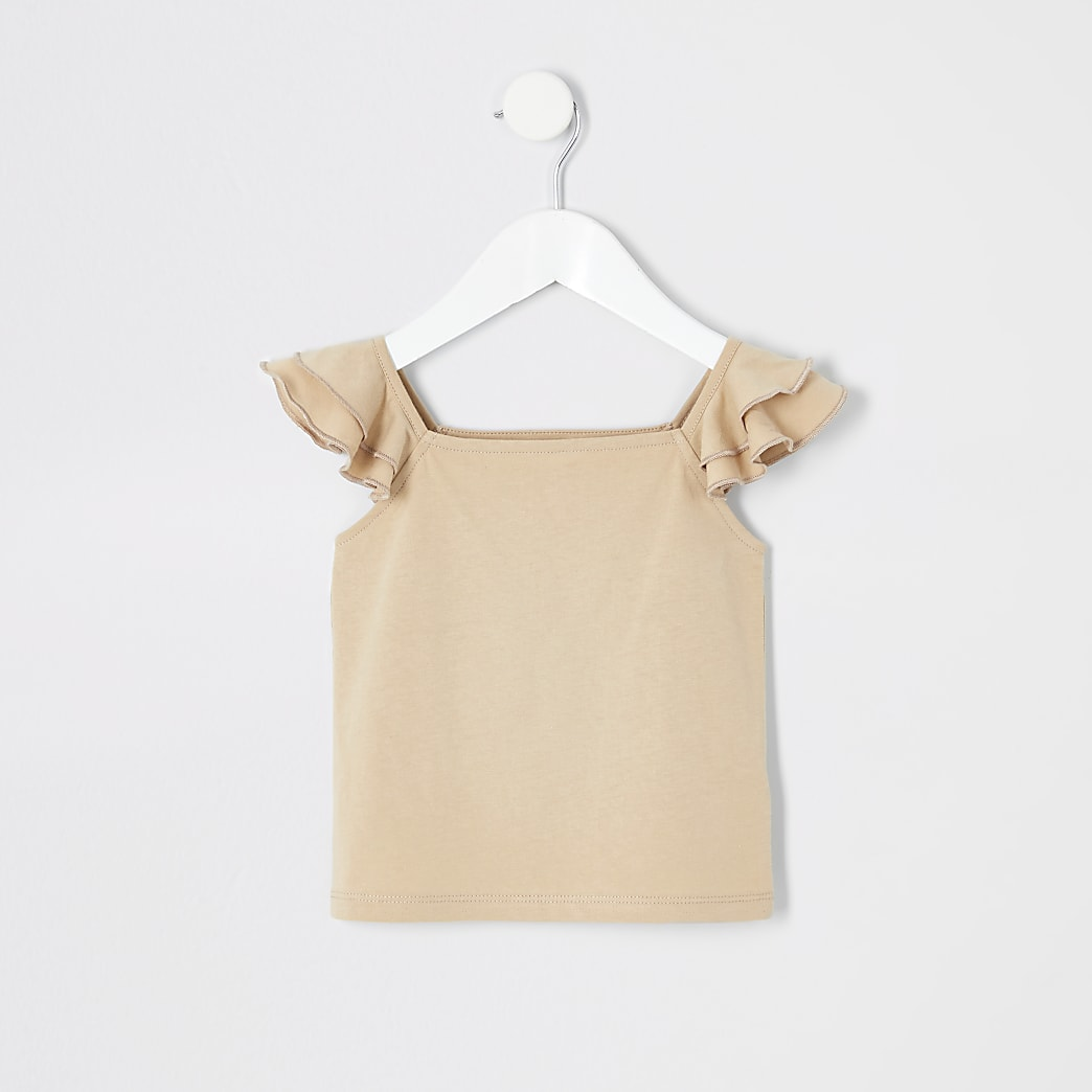 Mini girls tan frill peplum cami T-shirt
