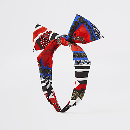Girls blue scarf print knot front headband