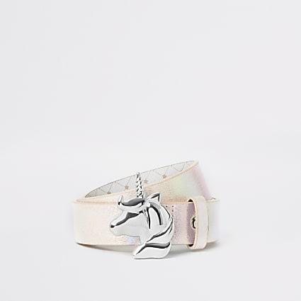 Girls pink unicorn buckle belt