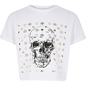 Girls white skull tee