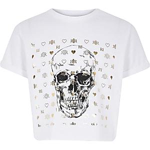 T-shirt blanc à imprimé tête de mort pour fille