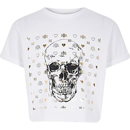 Girls white skull print T-shirt