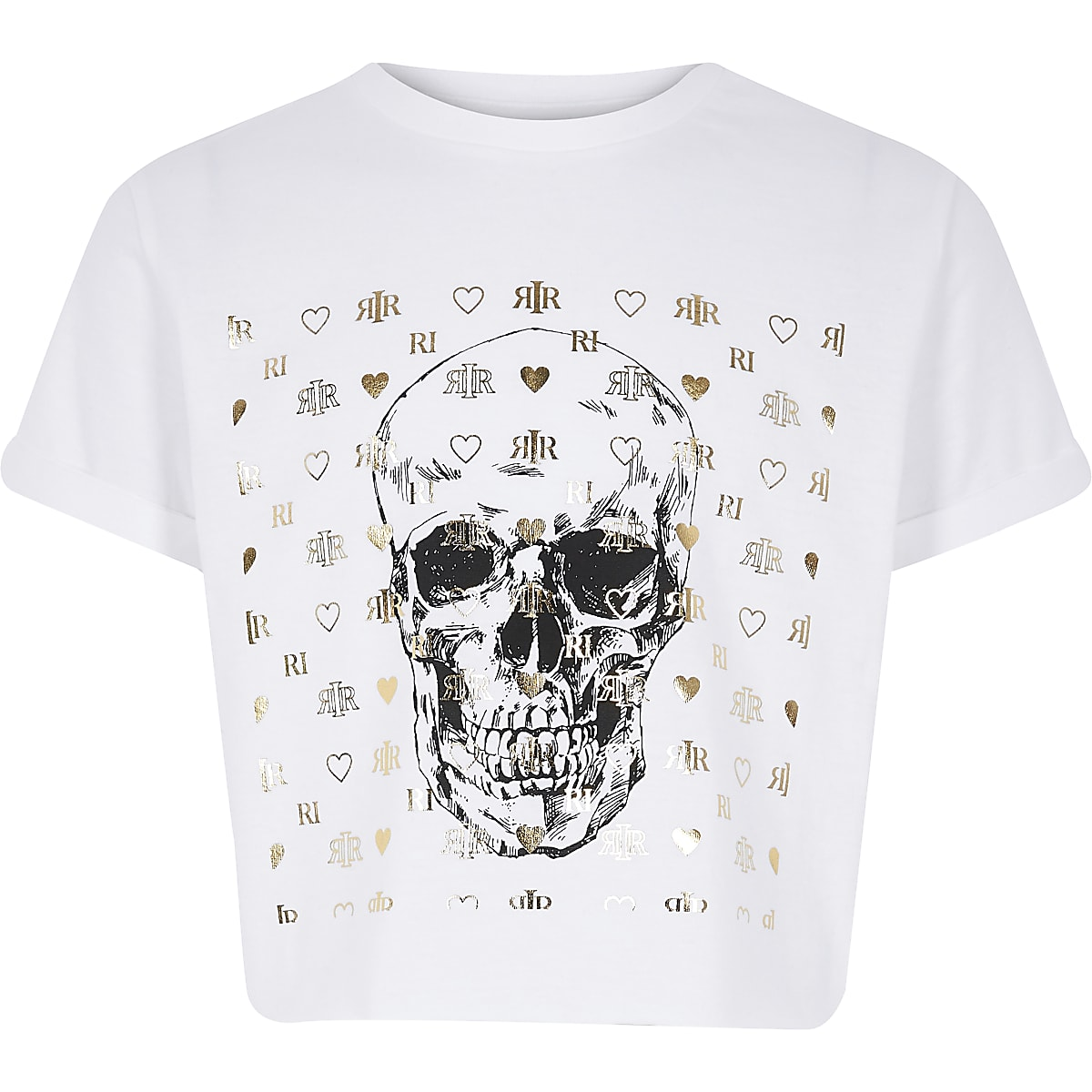 Girls white skull print T-shirt