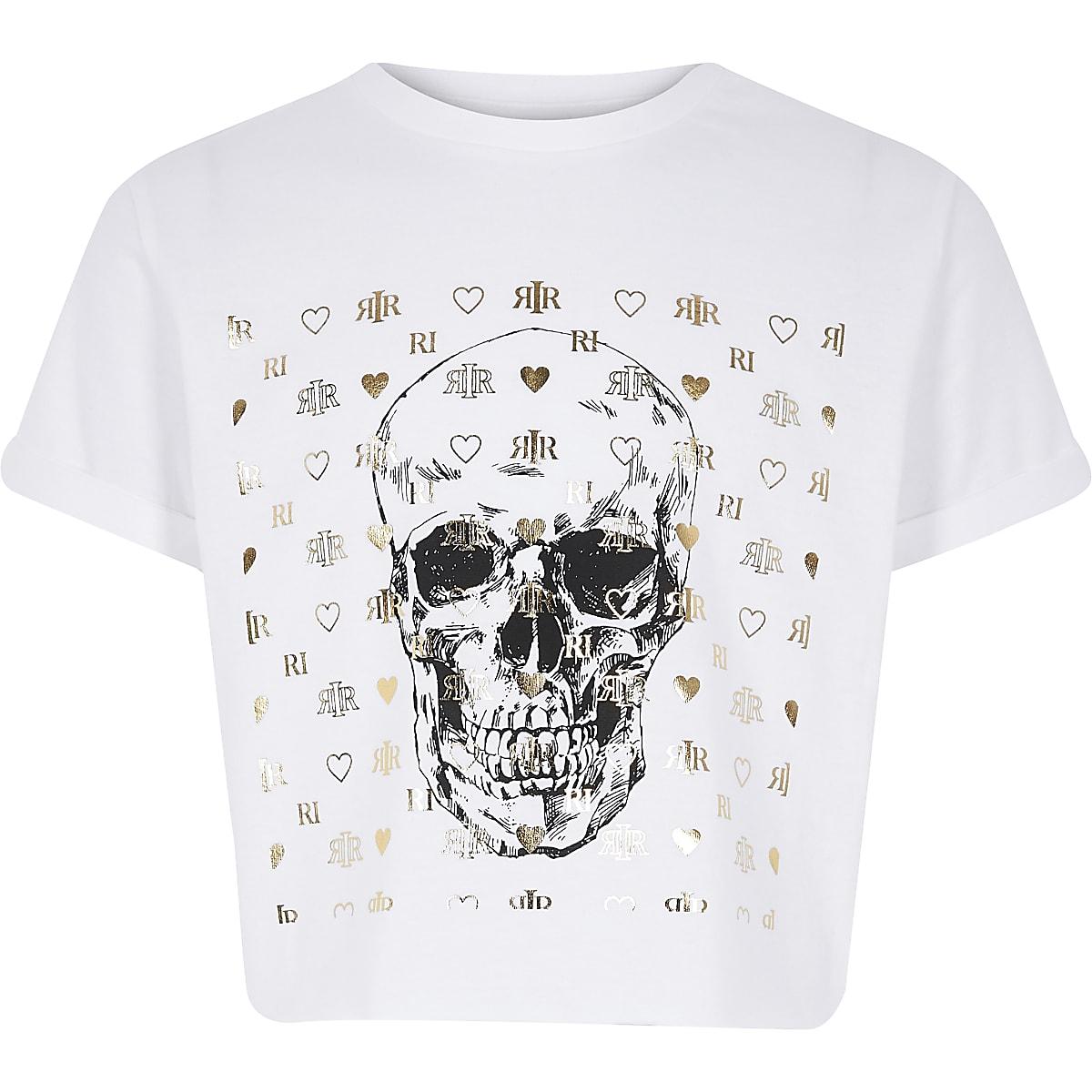 Wit T-shirt met doodshoofdprint voor meisjes