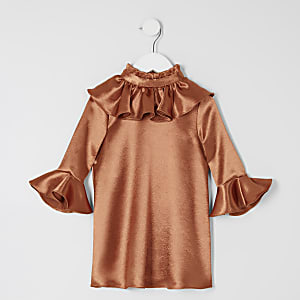 Mini girls bronze frill sleeve dress