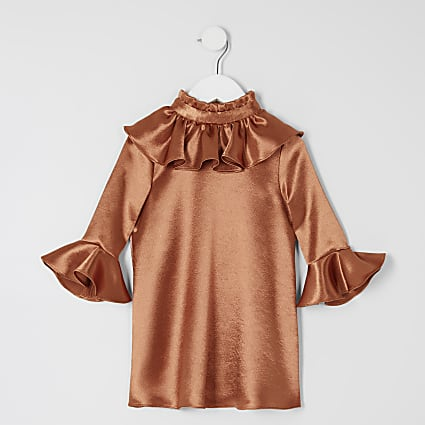 Mini girls bronze frill sleeve dress