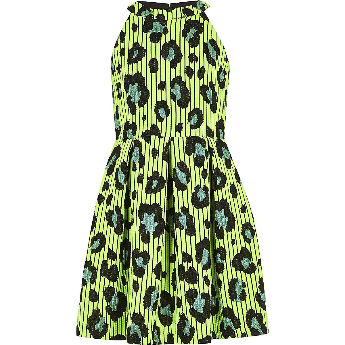 Girls green leopard print prom dress