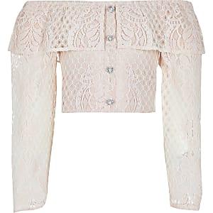 Roze bardottop met lange mouwen en borduursel voor meisjes