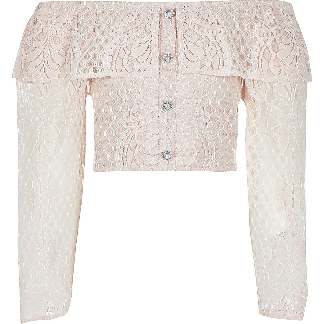 Girls pink broderie long sleeve bardot top