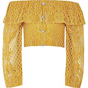 Top jaune à manches longues en broderie style Bardot pour fille