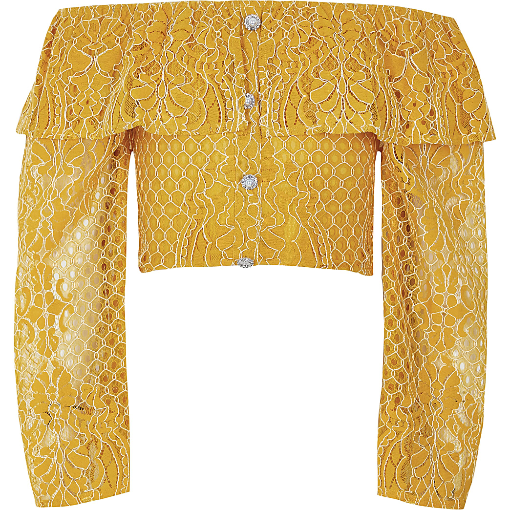 Girls yellow broderie long sleeve bardot top