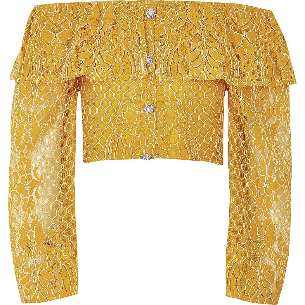 Girls yellow broderie long sleeve bardot top