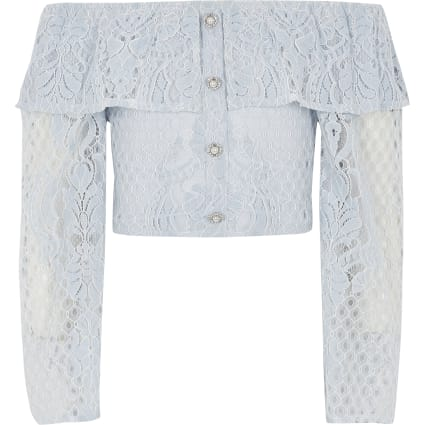 Girls blue broderie long sleeve bardot top