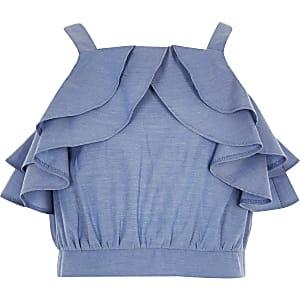 Blaues Crop-Top mit Rüschen für Mädchen