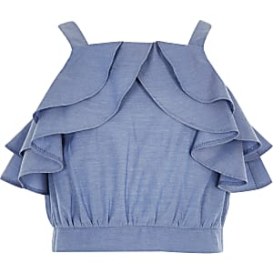 Blauwe crop top met ruches