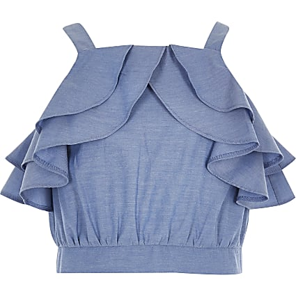 Girls blue ruffle crop top