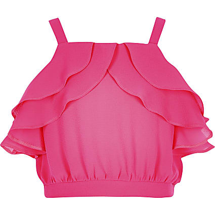 Girls pink ruffle crop top